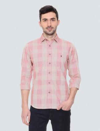 LP桃粉色格纹棉质衬衫