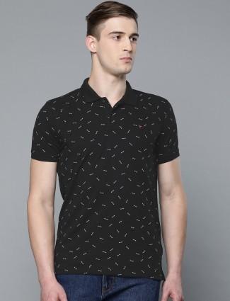 LP printed black slim fit t-shirt