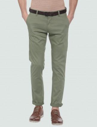 LP Sport olive hued solid cotton trouser