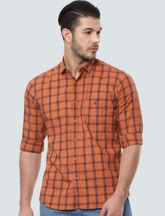 LP Sport rust orange checks shirt