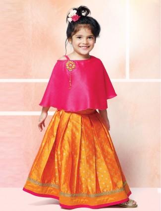 Magenta and orange hue raw silk cute baby lehenga choli