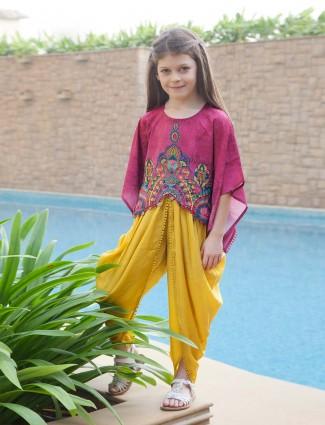 Magenta and yellow hue designer dhoti suit