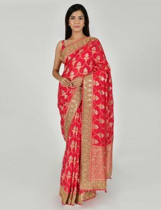 Magenta art khadi silk traditional saree