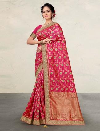 Magenta banarasi silk saree for wedding