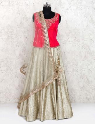 Magenta color cotton silk lehenga choli