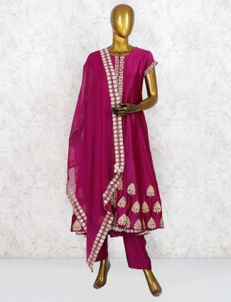 Magenta color cotton silk punjabi salwar suit