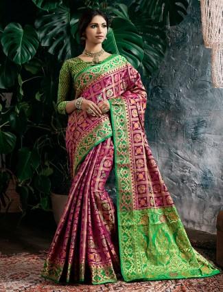 Magenta color semi silk saree for wedding occasion