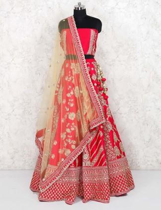 Magenta color silk bridal semi stitched lehenga choli