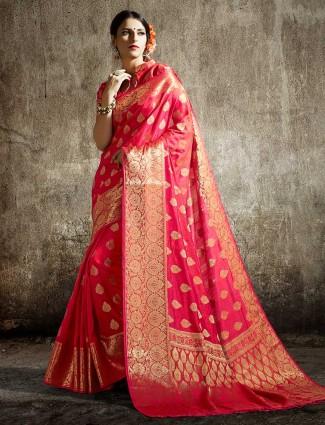 Magenta colored semi silk pretty saree