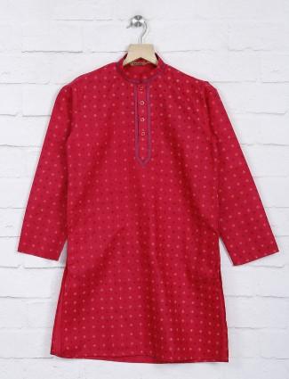 Magenta cotton fabric festive kurta suit