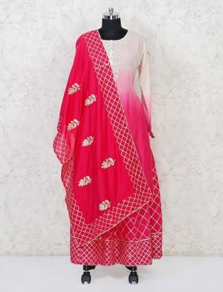 Magenta cotton festive punjabi lehenga suit