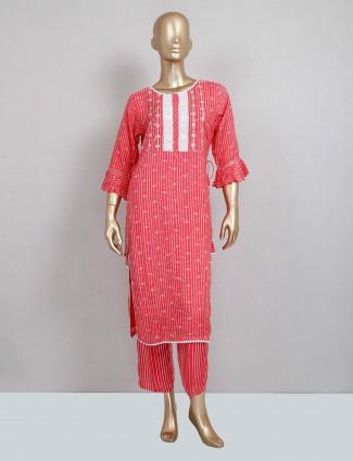 Magenta cotton pant style salwar kameez