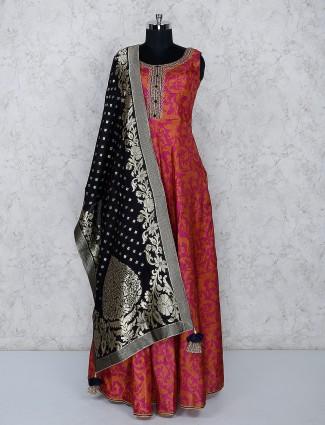 Magenta cotton silk printed floor length anarkali salwar suit