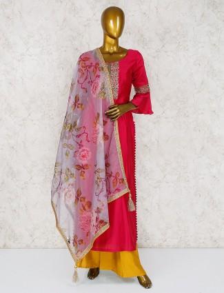 Magenta cotton silk round neck palazzo suit