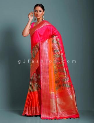 Magenta designer pure handloom banarasi silk saree