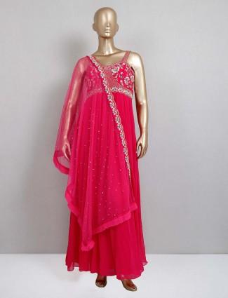 Magenta floor length anarkali suit for wedding