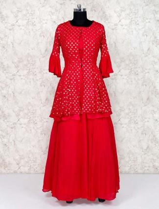 Red  georgette lehenga suit for festival
