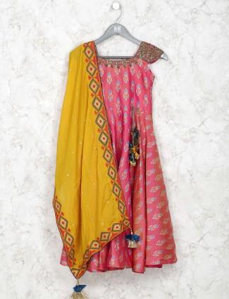 Magenta hue cotton silk printed anarkali salwar suit