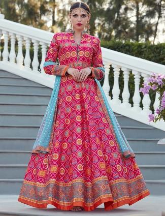 Magenta hue patola silk festive floor length anarkali suit