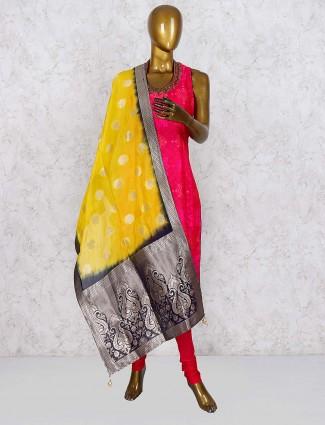 Magenta hue punjabi salwar suit in cotton