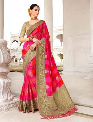 Magenta hue semi silk gorgeous saree