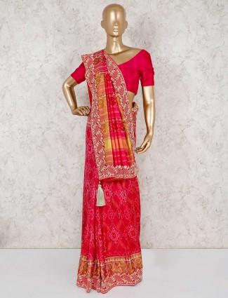 Magenta patola silk saree for wedding