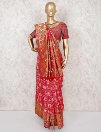 Magenta patola silk saree with matching blouse piece