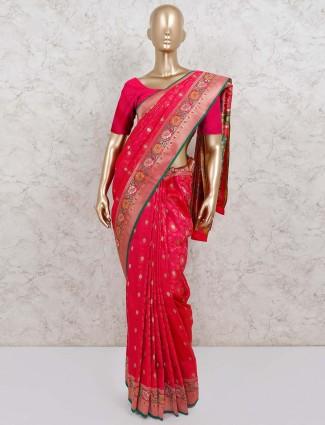 Magenta reception semi silk saree