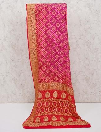 Magenta saree in bandhej