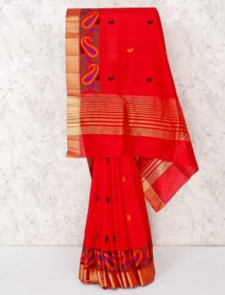 Magenta saree in cotton