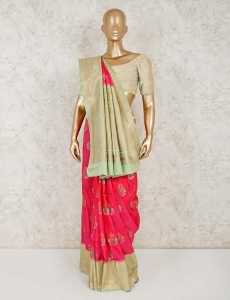 Magenta semi silk reception saree