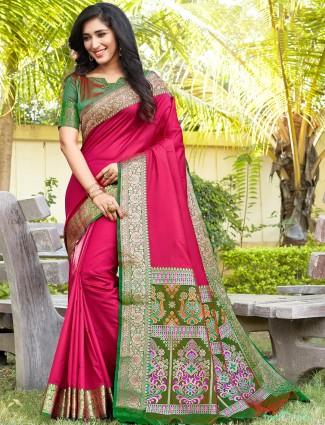 Magenta wedding saree design in banarasi silk