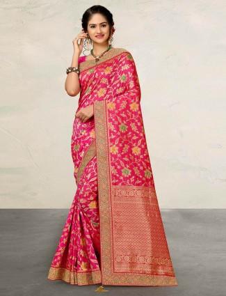 Magenta wedding wear sari in banarasi silk