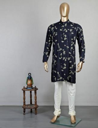 Magestic black cotton kurta suit for mens