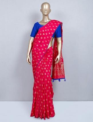 Magnificent magenta cotton silk festive wear saree