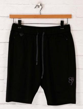 Maml black cotton night shorts