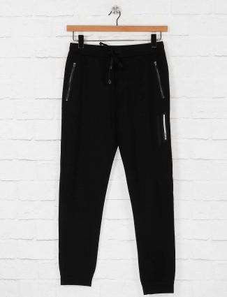 Maml black solid cotton track pant