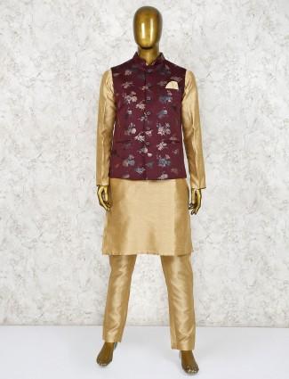 Maroon and beige terry rayon waistcoat set