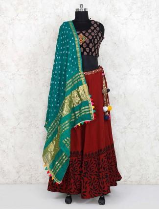 Maroon and black cotton fabric lehenga choli for festive occasion