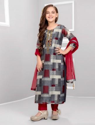Maroon and grey hue cotton punjabi salwar suit