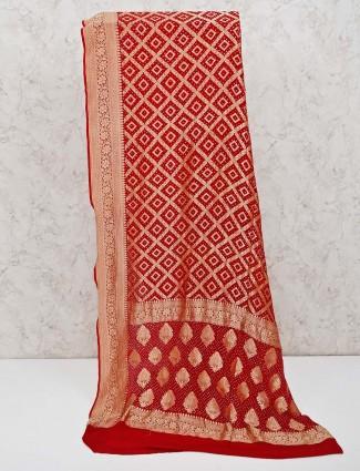 Maroon bandhej printed design saree