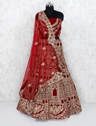 Maroon color bridal velvet semi stitched lehenga choli