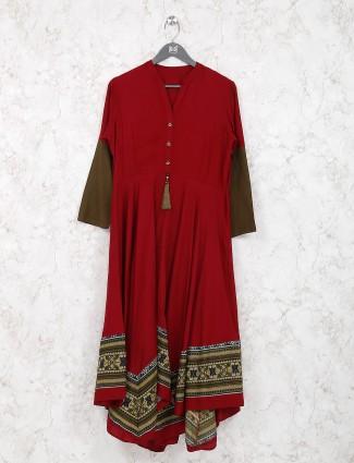 Maroon color cotton fabric festive kurti