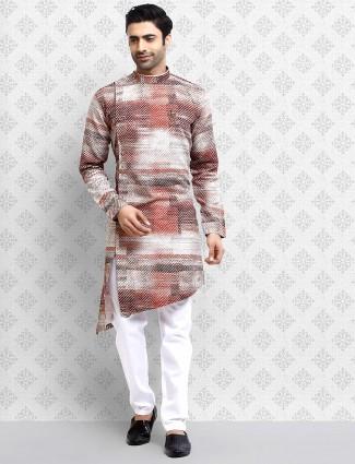 Maroon color cotton festive digital printed kurta suit
