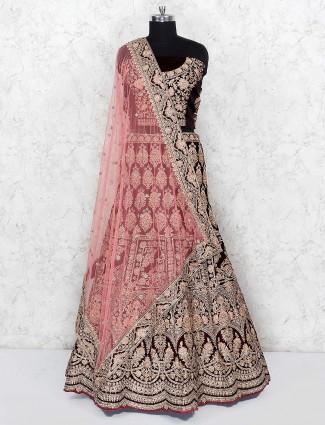 Maroon color hue velvet semi stitched lehenga choli