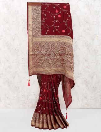 Maroon color pretty cotton saree