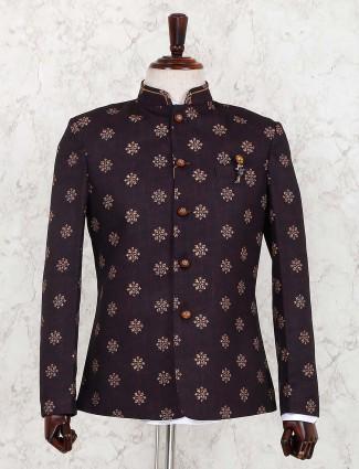Maroon color printed terry rayon jodhpuri blazer