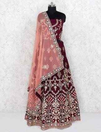 Maroon color silk fabric semi stitched lehenga choli for festive occasion