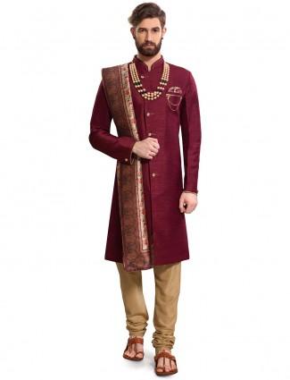 Maroon color solid raw silk semi indo western
