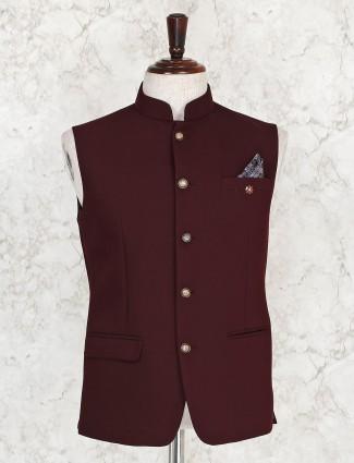 Maroon color solid terry rayon waistcoat